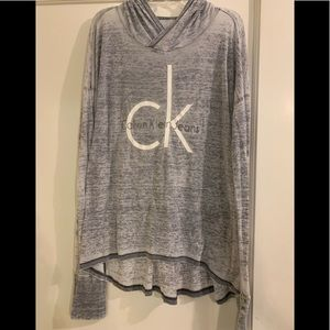 Calvin Klein | Gray long sleeve hooded T-shirt